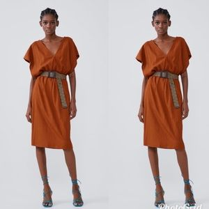 Zara Rust Orange Dress Size M